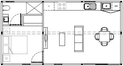 One bed floorplan (without dimensions)